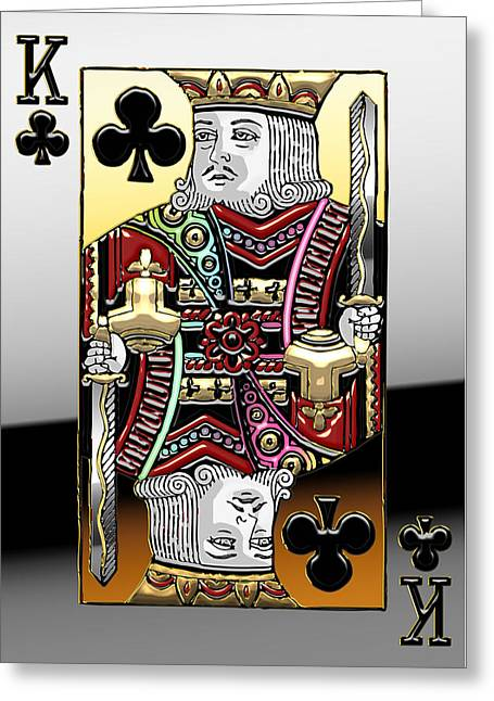 Playing Cards Greeting Cards - King of Clubs   Greeting Card by Serge Averbukh