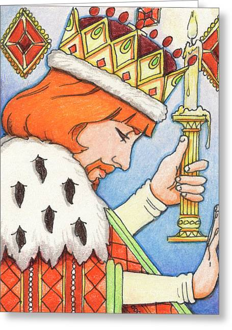 Candle Lit Drawings Greeting Cards - King of Diamonds Greeting Card by Amy S Turner