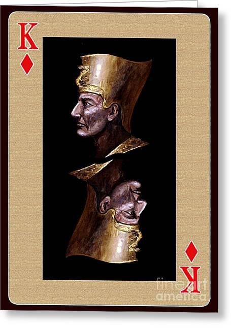 Pharaoh Mixed Media Greeting Cards - King of Diamonds Greeting Card by Arturas Slapsys