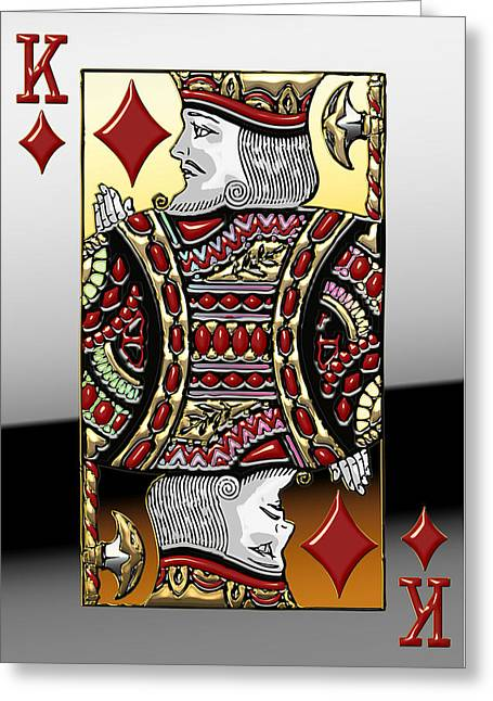 Playing Cards Digital Art Greeting Cards - King of Diamonds   Greeting Card by Serge Averbukh