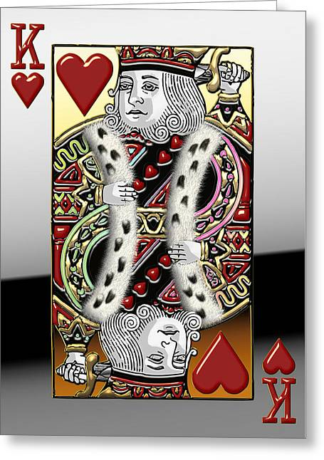 Playing Digital Greeting Cards - King of Hearts   Greeting Card by Serge Averbukh