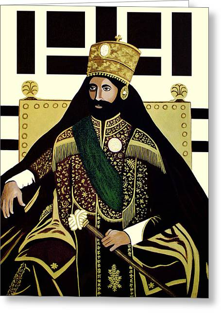 Rastafarian Greeting Cards - King of Kings Greeting Card by EJ Lefavour