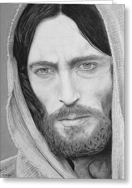 Jesus Mixed Media Greeting Cards - King of Kings Greeting Card by Miguel Rodriguez