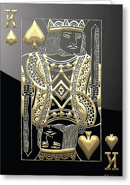 Playing Digital Greeting Cards - King of Spades in Gold on Black   Greeting Card by Serge Averbukh