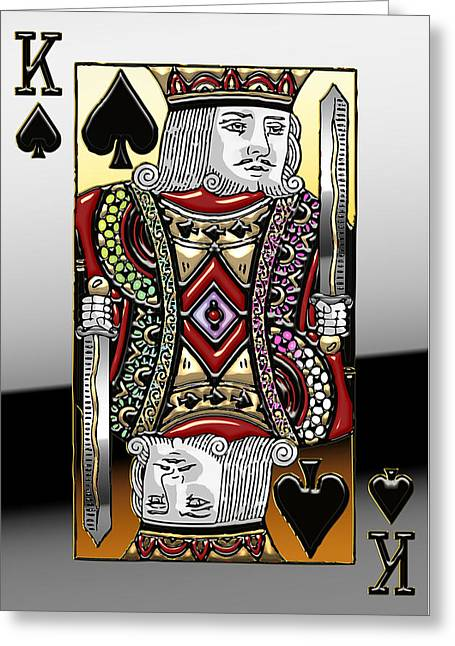Playing Cards Greeting Cards - King of Spades   Greeting Card by Serge Averbukh