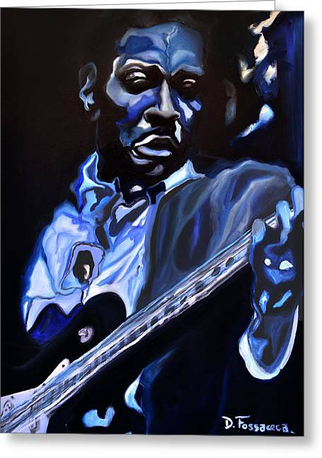 Forties Paintings Greeting Cards - King of Swing-Buddy Guy Greeting Card by David Fossaceca