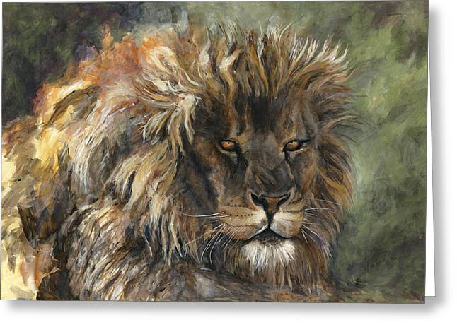 Golden Eyes Greeting Cards - King of the Beasts Greeting Card by Leisa Temple