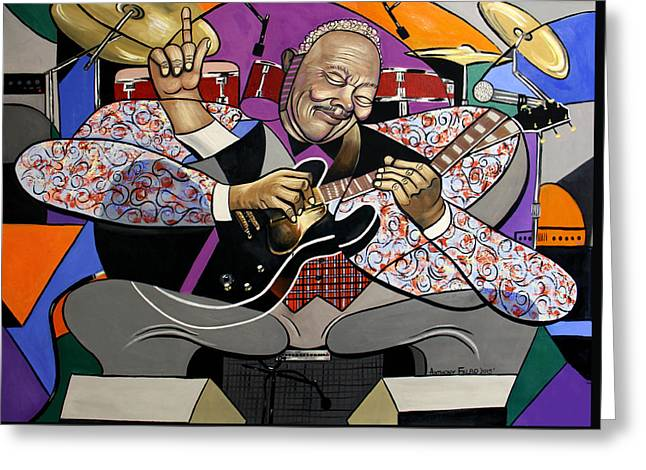 Shirt Digital Greeting Cards - King Of The Blues Greeting Card by Anthony Falbo