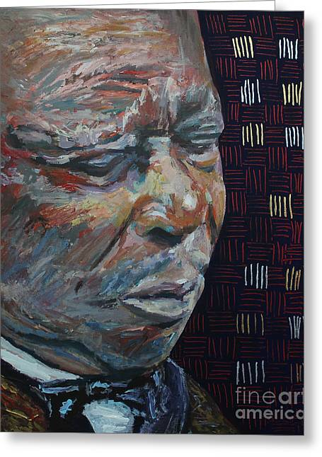 African-americans Greeting Cards - King of the Blues B B King Portrait Greeting Card by Robert Yaeger
