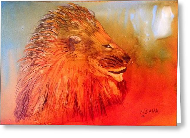 Lions Greeting Cards - King of the Jungle Greeting Card by Mary Lomma