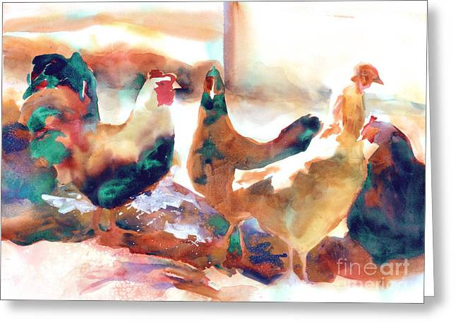 Viridian Greeting Cards - King of the Roost Greeting Card by Kathy Braud