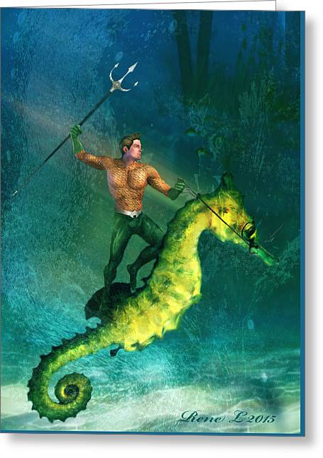 Aquaman Greeting Cards - King of the Sea Super friend Greeting Card by Rene Lopez