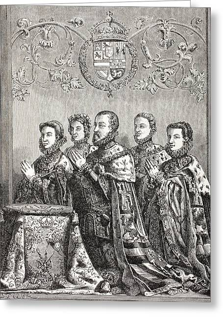 Mary Philips Greeting Cards - King Philip Ii Of Spain With His Three Greeting Card by Ken Welsh