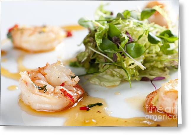Prawns Greeting Cards - KING PRAWNS GINGER CHILLI AND CORIANDER starter presented on a white background Greeting Card by Andy Smy