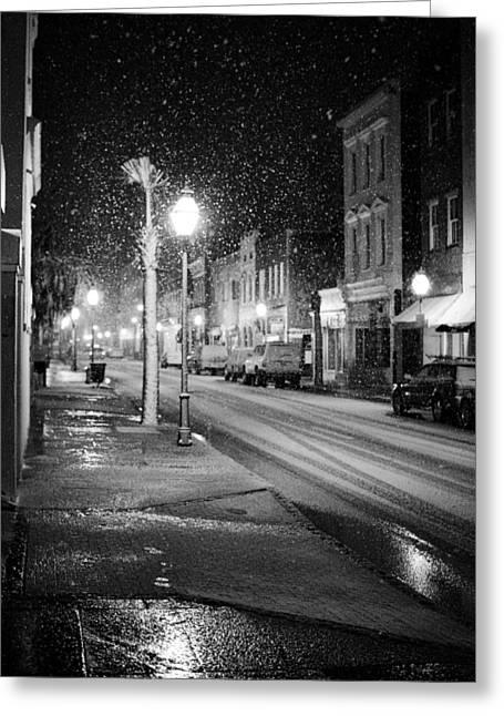 King Greeting Cards - King Street Charleston Snow Greeting Card by Dustin K Ryan