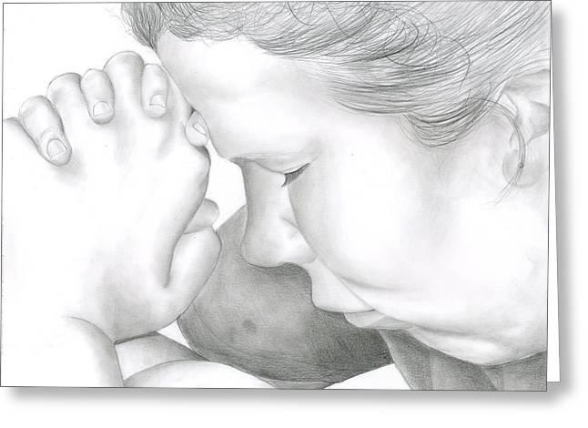 Praying Hands Drawings Greeting Cards - Kingdom Glory Power Amen Greeting Card by Ruth Blum