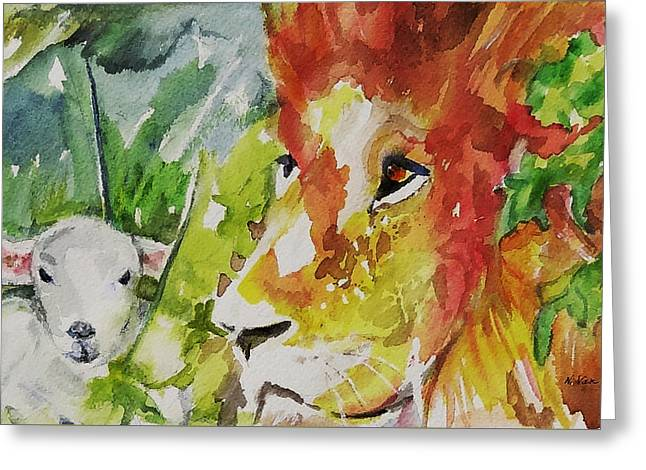 Lion And The Lamb Greeting Cards - Kingdom of Peace Greeting Card by Nancy Van