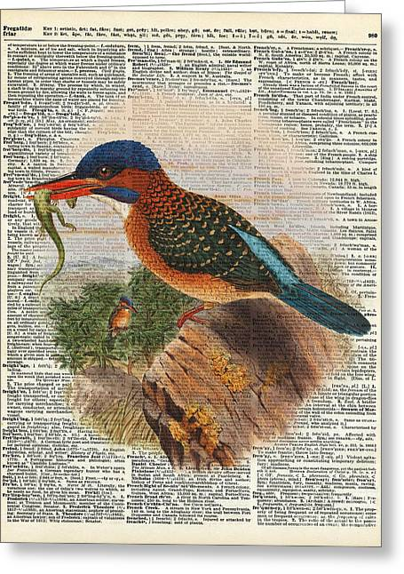 Bird On Tree Paintings Greeting Cards - Kingfisher bird with a lizard illustration Over a Old Dictionary Greeting Card by Jacob Kuch