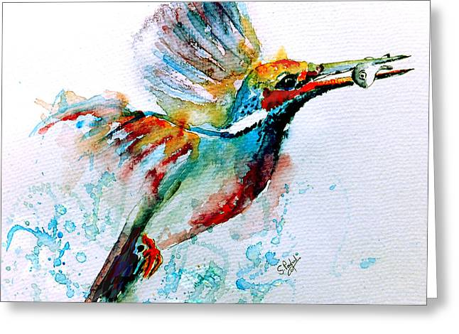 Pink Floral Greeting Cards - Kingfisher Greeting Card by Steven Ponsford