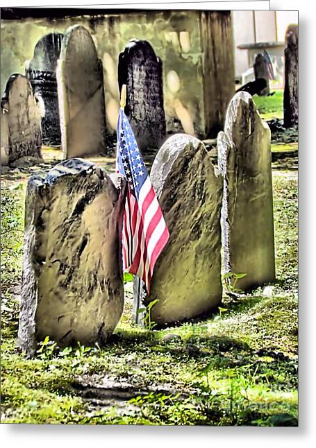 Ultimate Sacrifice Greeting Cards - Kings Chapel Cemetery  Greeting Card by Elizabeth Dow