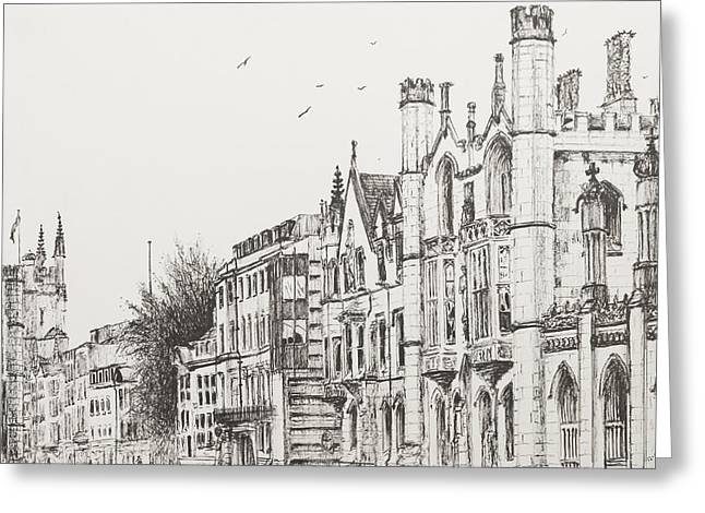 College Drawings Greeting Cards - Kings College Cambridge Greeting Card by Vincent Alexander Booth