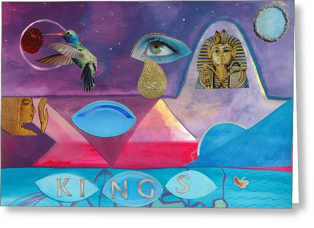 Pharaoh Mixed Media Greeting Cards - Kings Greeting Card by Laura Joan Levine