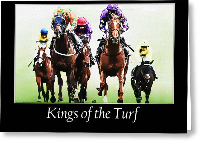 Race Horse Greeting Cards - Kings of the Turf Greeting Card by Janice OConnor