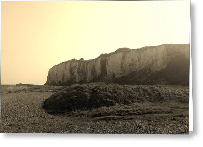Sepia Chalk Greeting Cards - Kingsdown Cliffs Sepia Greeting Card by Inspired Photographic