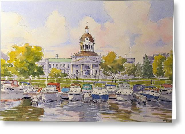 Kingston City Hall Greeting Cards - Kingston City Hall and Harbour Greeting Card by David Gilmore