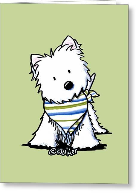 Kiniart Westie Terrier Greeting Card by Kim Niles