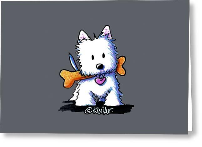 Kiniart Westie With Bone Greeting Card by Kim Niles
