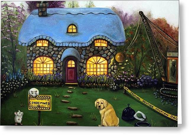 Kinkade Greeting Cards - Kinkades Worst Nightmare 2  Greeting Card by Leah Saulnier The Painting Maniac