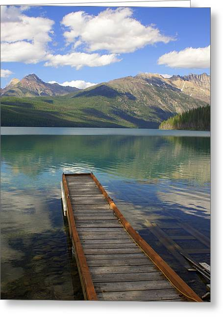 Marty Koch Greeting Cards - Kintla Lake Dock Greeting Card by Marty Koch