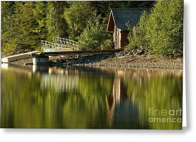 North Fork Greeting Cards - Kintla Lake Ranger Boat Dock Greeting Card by Adam Jewell