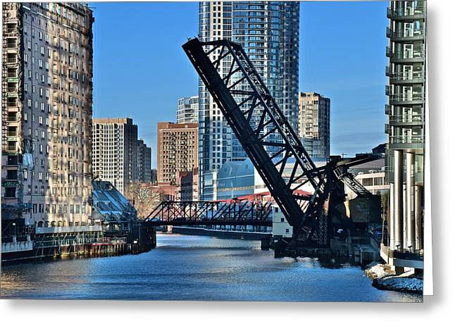 Kinzie Street Bridge Alternate View Greeting Card by Frozen in Time Fine Art Photography