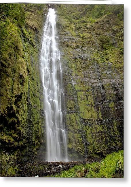 Amazing Greeting Cards - Kipahulu falls with foliage Greeting Card by Jenna Szerlag