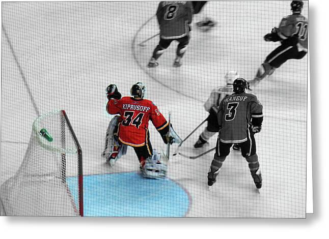 Hockey Net Greeting Cards - Kipper The Keeper Greeting Card by Al Bourassa