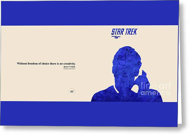 Enterprise Mixed Media Greeting Cards - Kirk Quote - Star Trek Greeting Card by Pablo Franchi