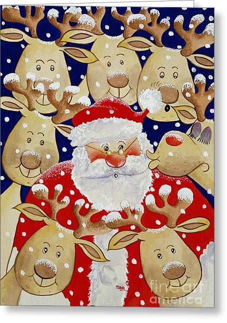 Rudolf Greeting Cards - Kiss for Santa Greeting Card by Tony Todd