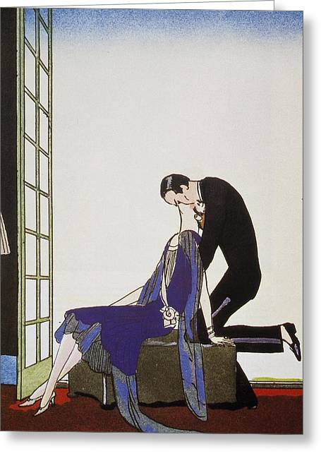 Kiss Greeting Card by Georges Barbier
