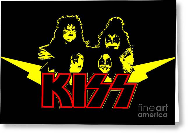 Rock N Roll Greeting Cards - KISS No.01 Greeting Card by Caio Caldas