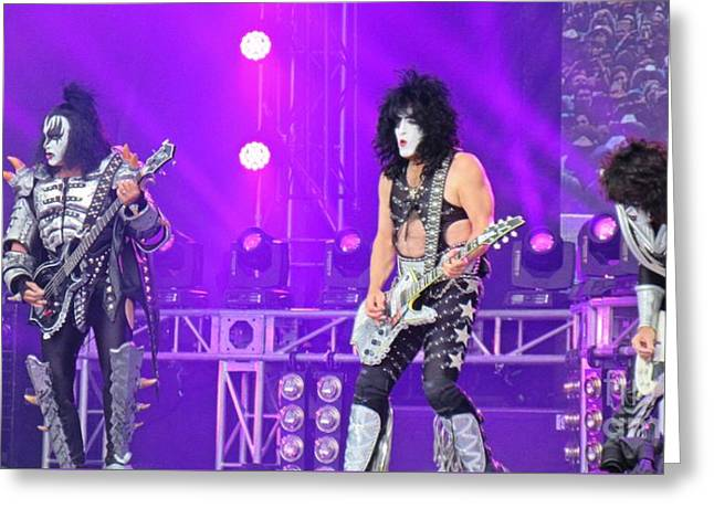 Kiss On Stage 40th Anniversary Tour Greeting Card by John Malone