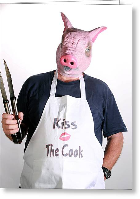 Hear No Evil Greeting Cards - Kiss The Cook Greeting Card by Michael Ledray