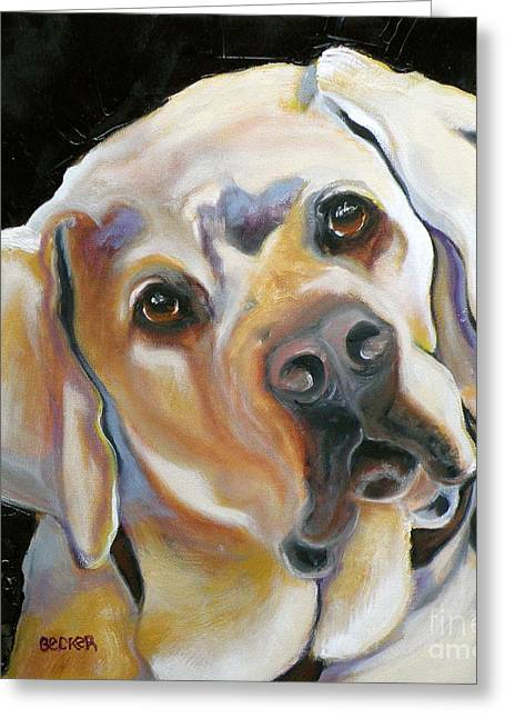 Yellow Dog Drawings Greeting Cards - Kissably Close Lab Greeting Card by Susan A Becker