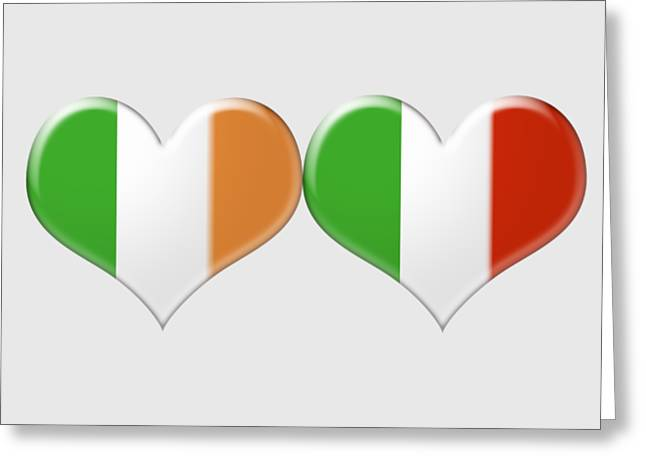 Engagement Jewelry Greeting Cards - Kissing Irish and Italian Heart Flags Greeting Card by Ckeen Art