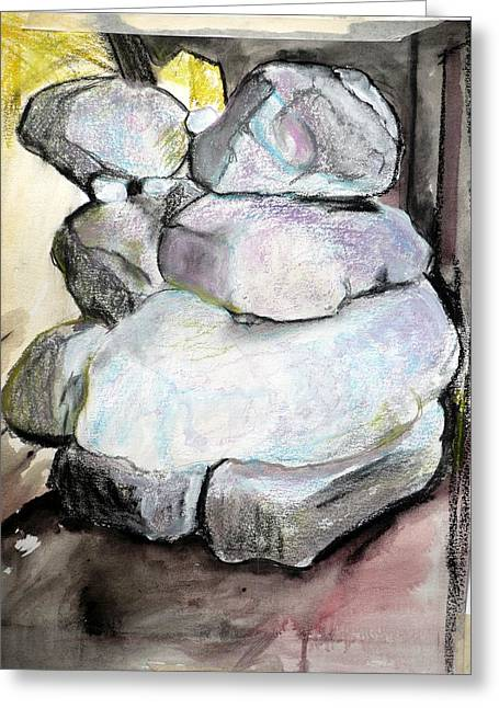 Geology Pastels Greeting Cards - Kissing rocks Greeting Card by Jane Clatworthy