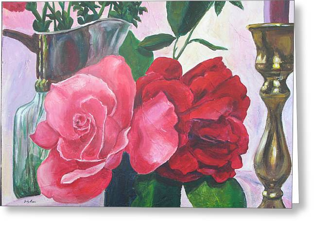 Kissing Roses Greeting Card by Judy Loper
