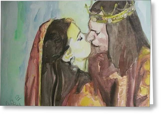 Testament Greeting Cards - Kissing the King Greeting Card by Cindy Helmoski