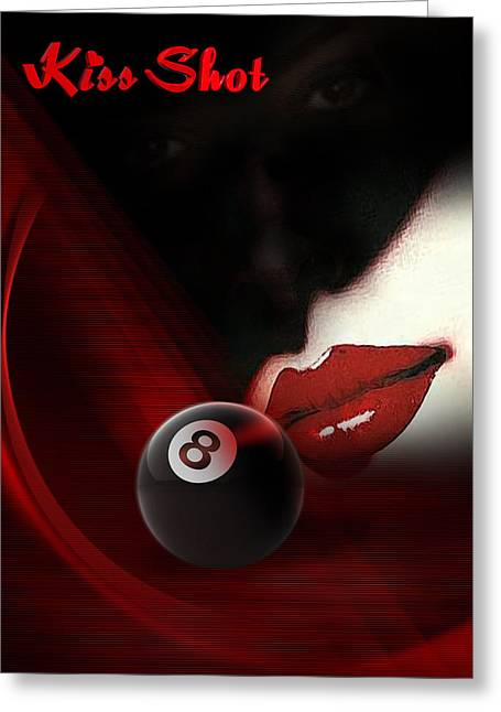 8ball Greeting Cards - Kissshot Greeting Card by Draw Shots