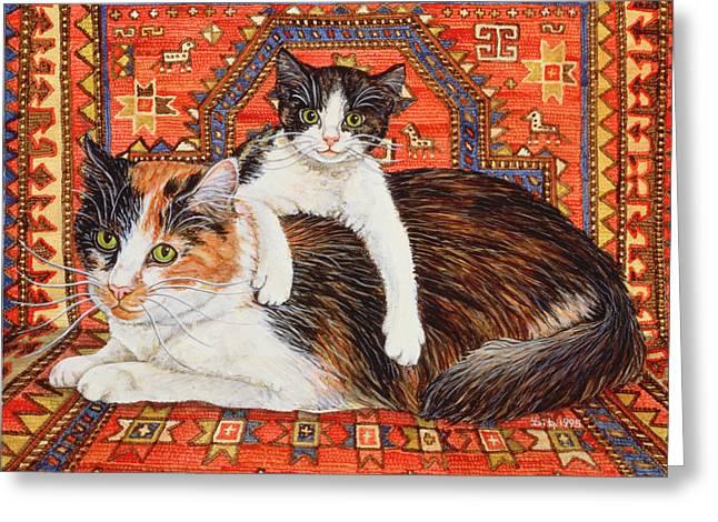 Cute Kitten Greeting Cards - Kit Cat Carpet Greeting Card by Ditz